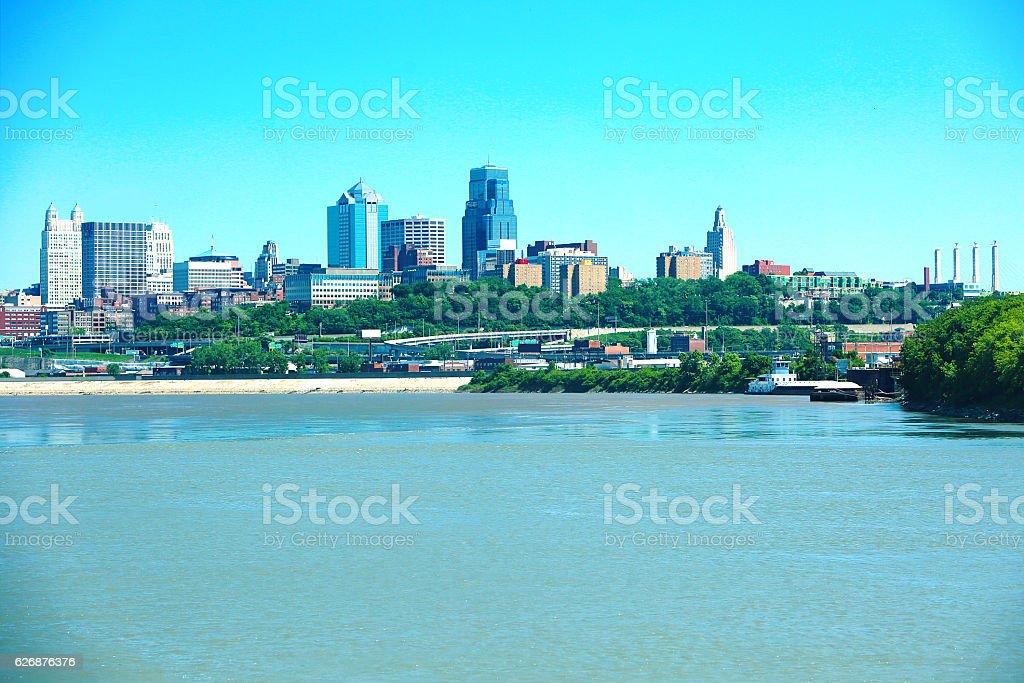 Kansas City Missouri River stock photo