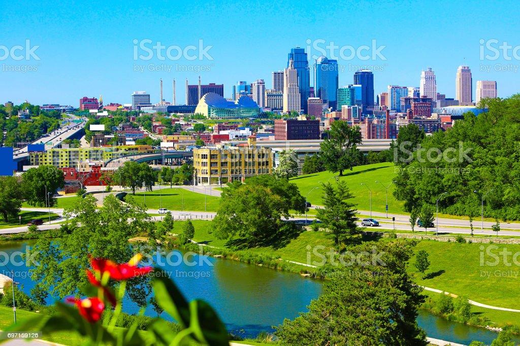 Kansas City Missouri Skyline with Plant stock photo