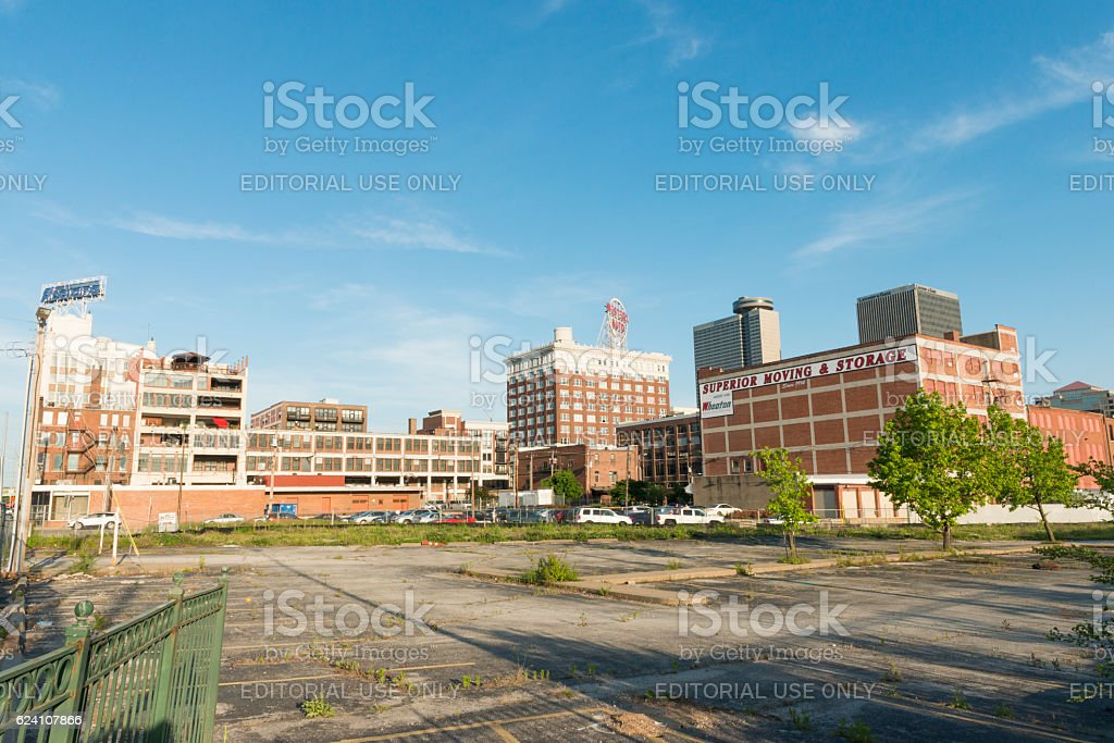 Kansas City Missouri Urban Empty Parking Lot with Brick Architecture stock photo