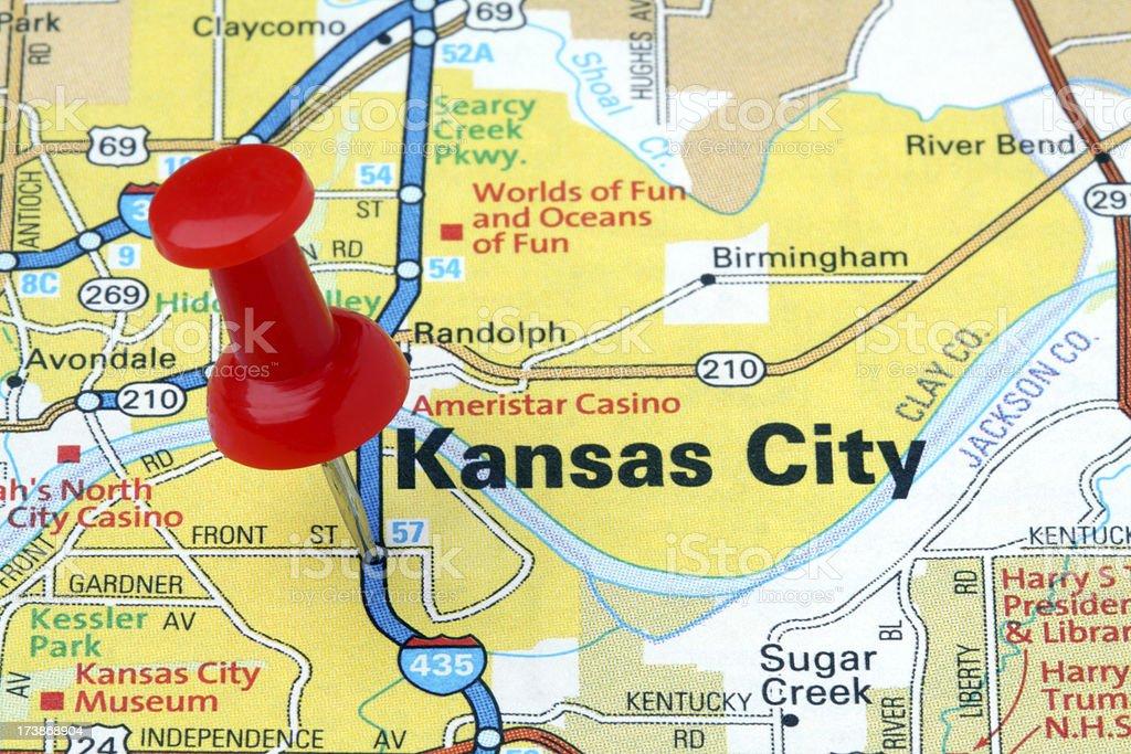Kansas City on a map. royalty-free stock photo