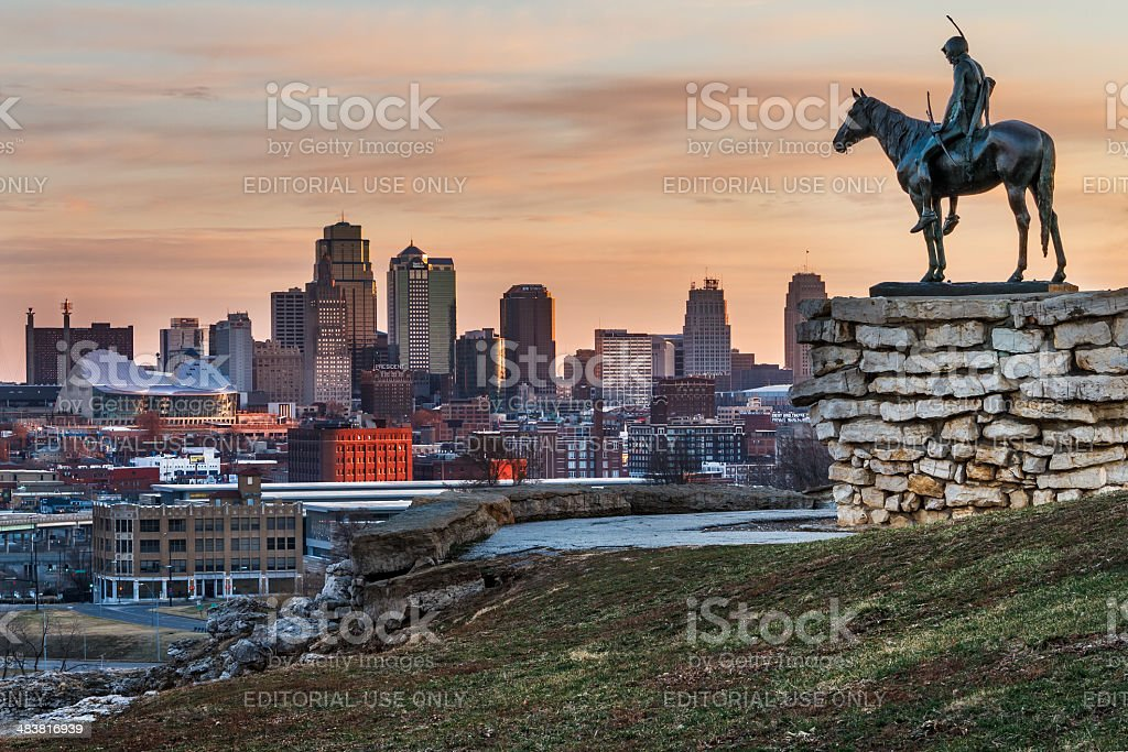 Kansas City Scout with View Of Kansas City, Missouri stock photo