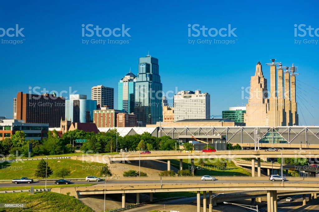 Kansas City Skyline and Interstate Interchange View stock photo