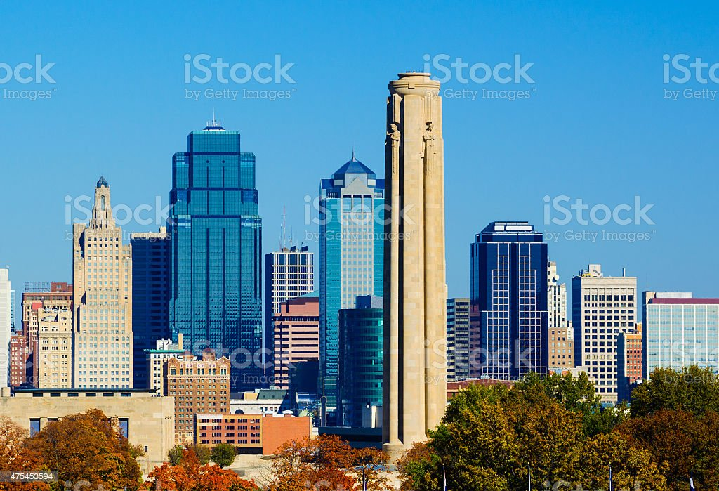 Kansas City skyline and Liberty Memorial stock photo