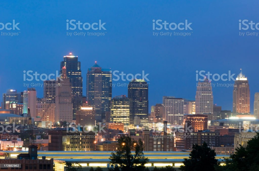 Kansas City Skyline at Dusk royalty-free stock photo