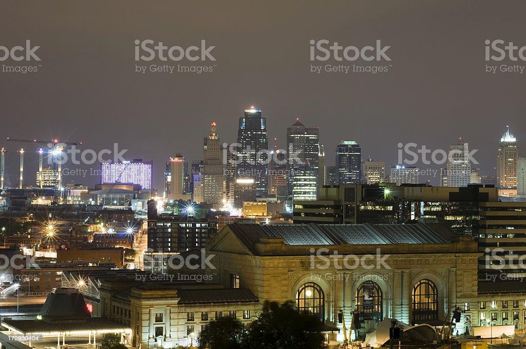 Kansas City Skyline at Night royalty-free stock photo