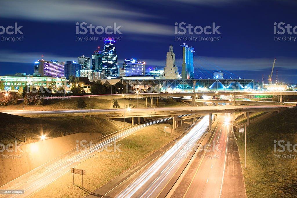 Kansas City Skyline at Night stock photo