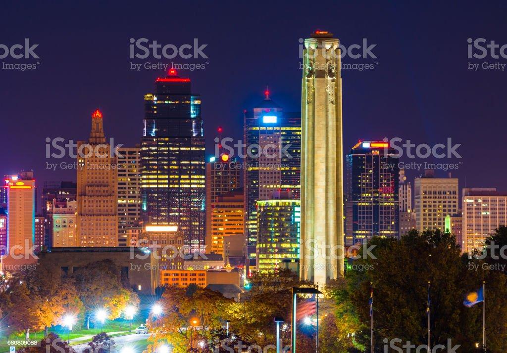 Kansas City Skyline at Night with World War I Memorial Monument stock photo