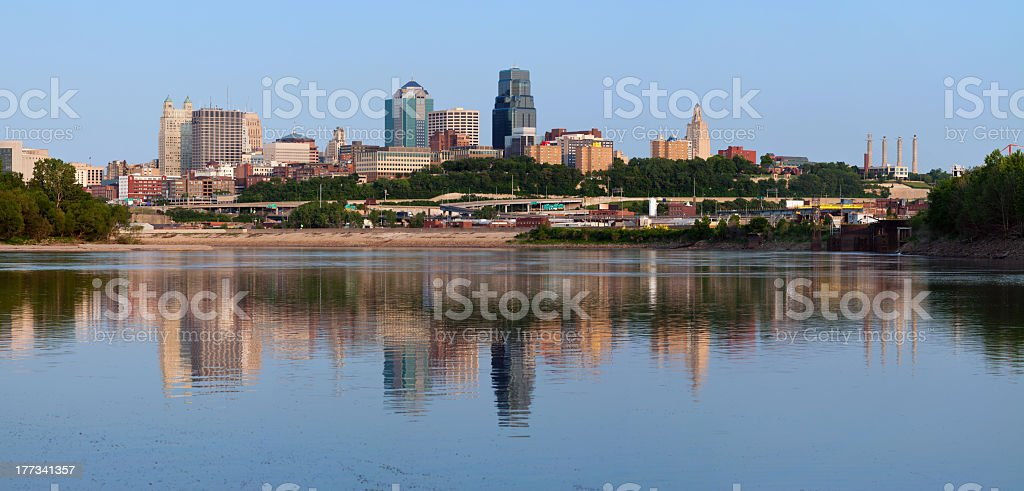 Kansas City skyline panorama near water stock photo