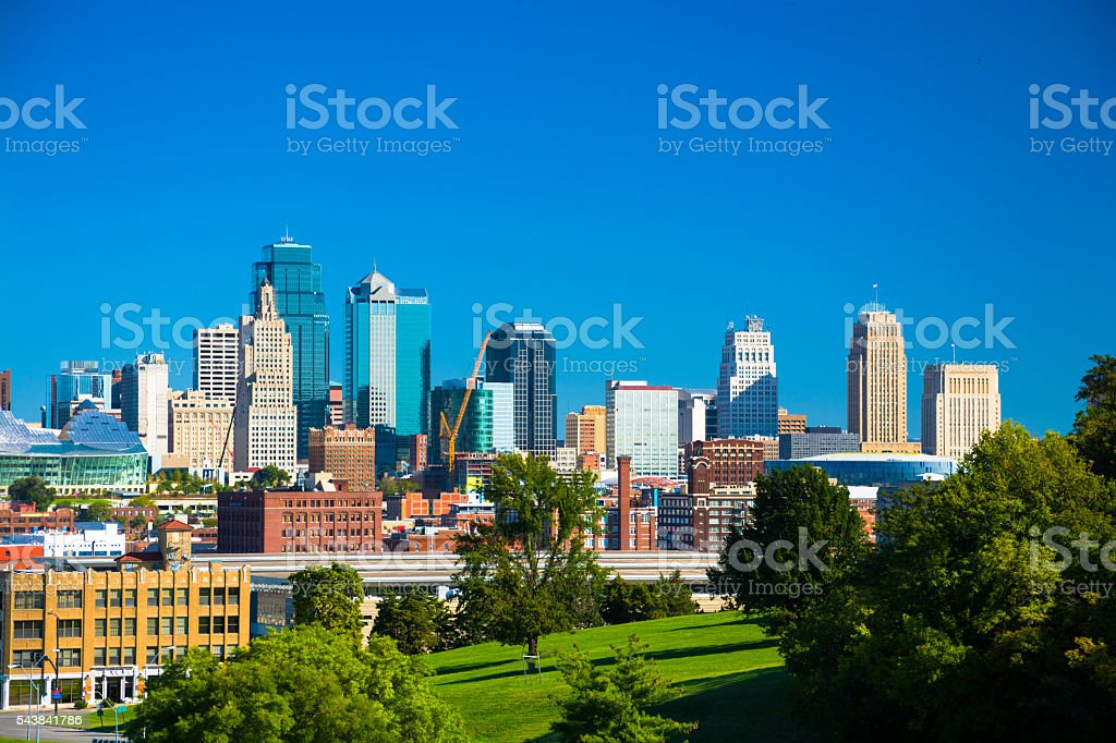 Kansas City Skyline with Park and Blue Sky stock photo