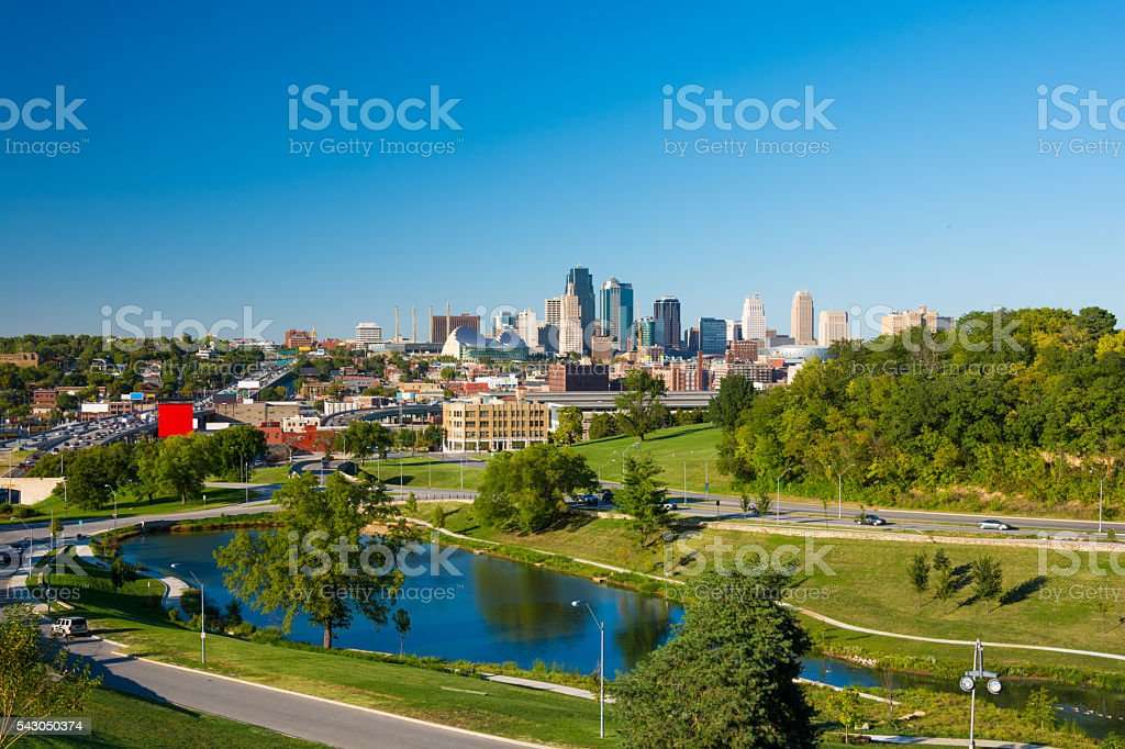 Kansas City skyline with park and small lake stock photo