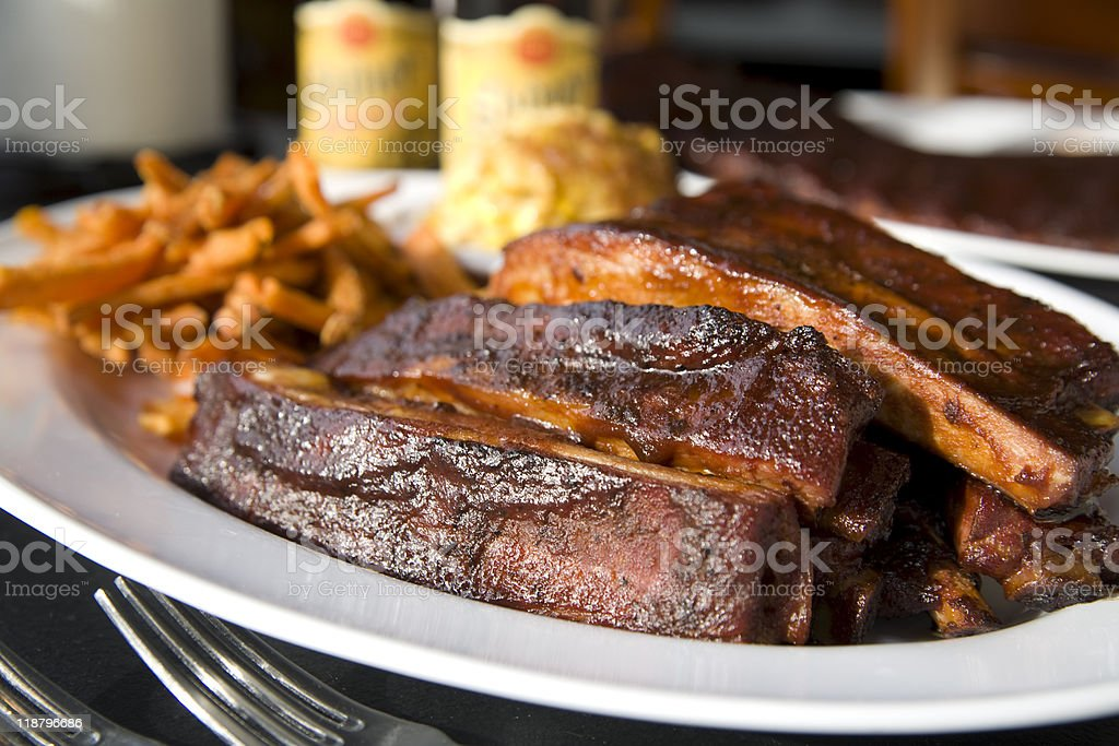 Kansas City style Barbeque Ribs stock photo