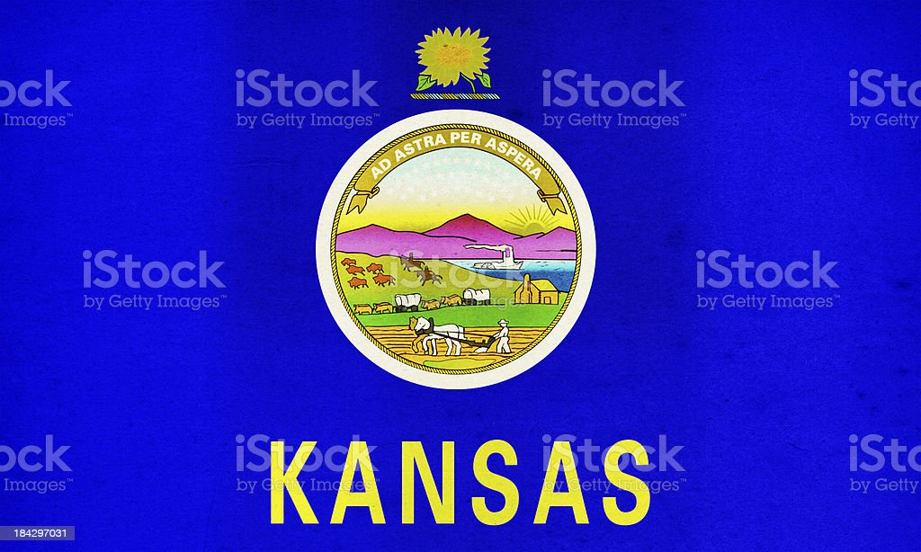 Kansas Flag Close-Up (High Resolution Image) stock photo