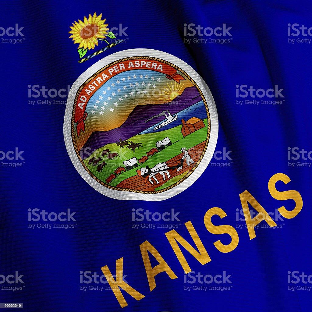Kansas Flag Closeup stock photo