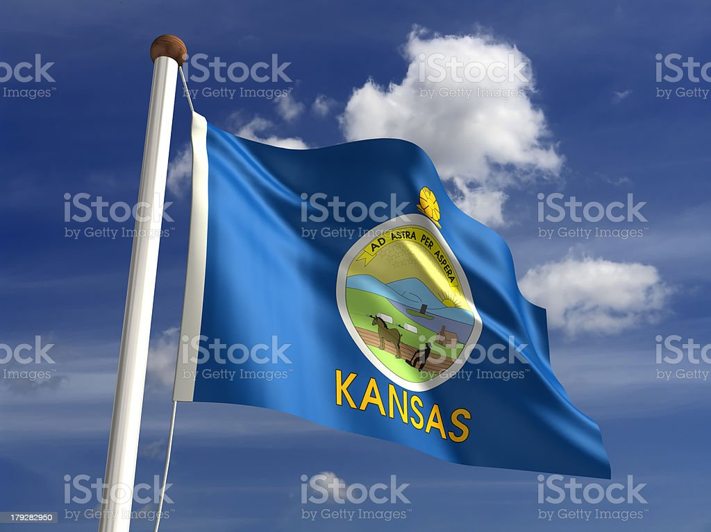 Kansas flag (with clipping path) stock photo