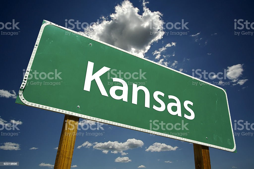 Kansas Road Sign stock photo