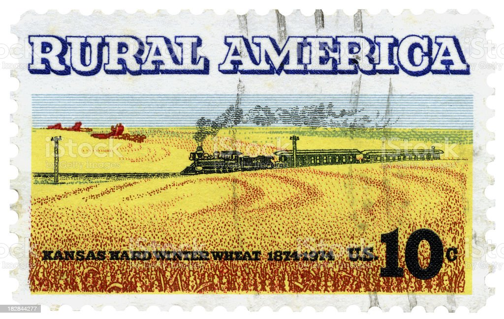 Kansas Rural America Wheat and Steam Train Postage Stamp royalty-free stock photo