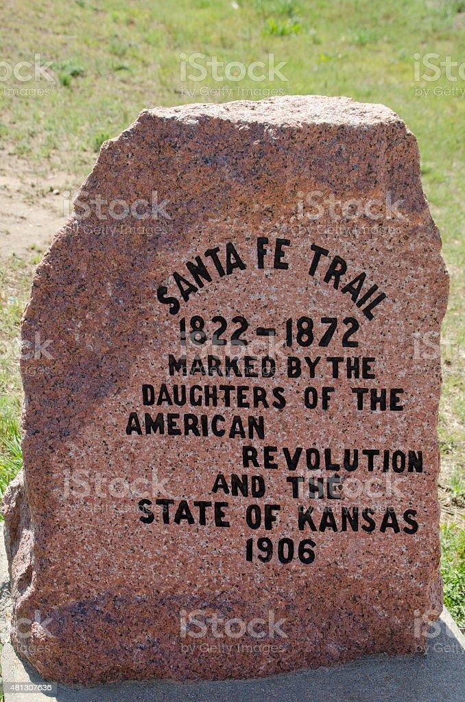 Kansas Santa Fe Trail Marker Stone stock photo