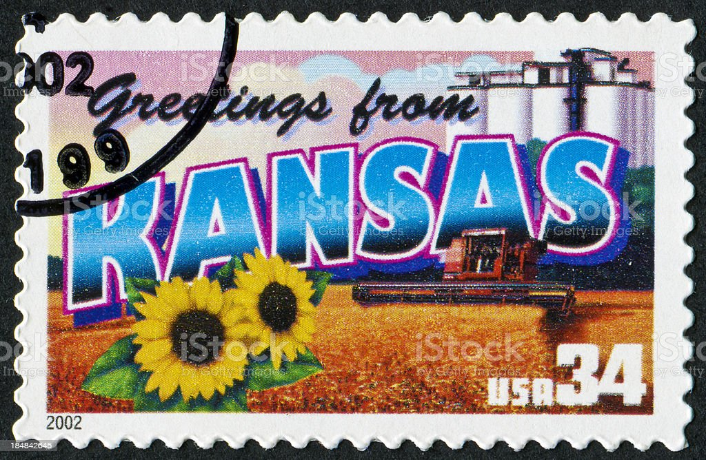 Kansas Stamp stock photo