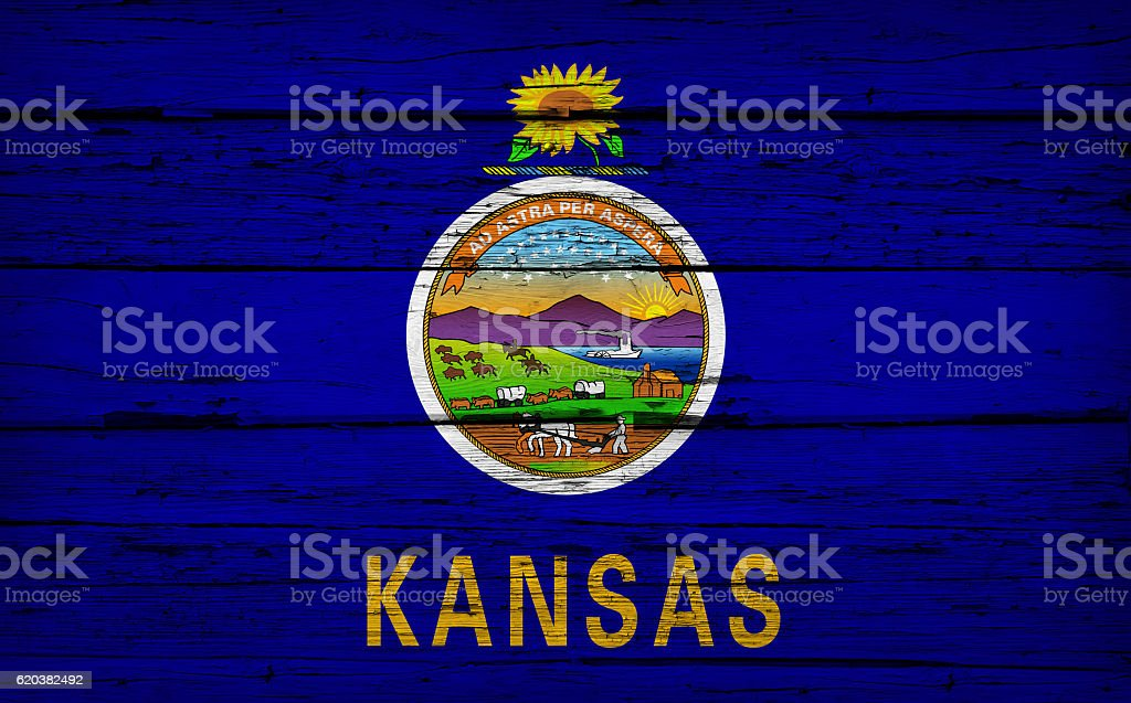 Kansas State Flag Grunge Background stock photo