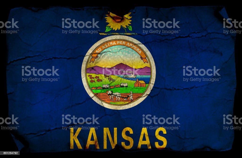 Kansas State grunge flag stock photo