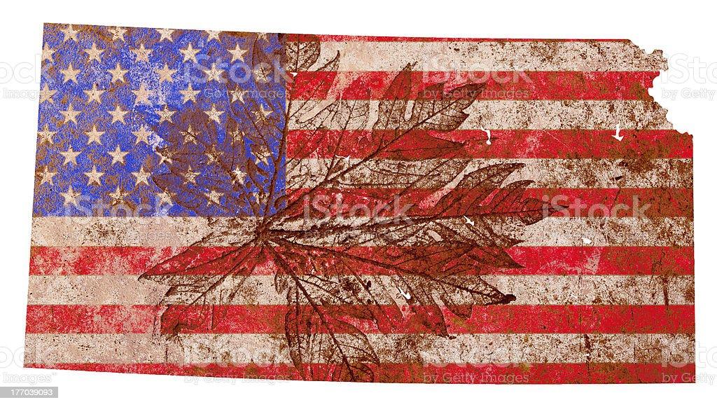 Kansas State Map Flag Pattern royalty-free stock photo