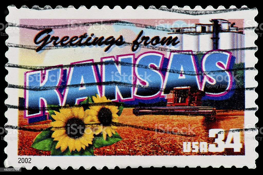 Kansas State Postage Stamp 'Greetings From America' Retro Postcard Theme stock photo