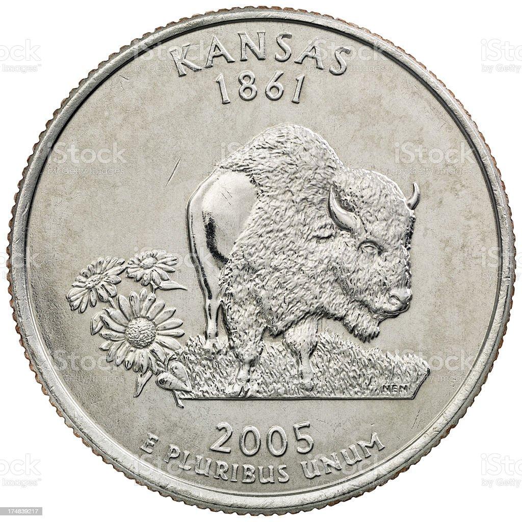 Kansas State Quarter Coin royalty-free stock photo
