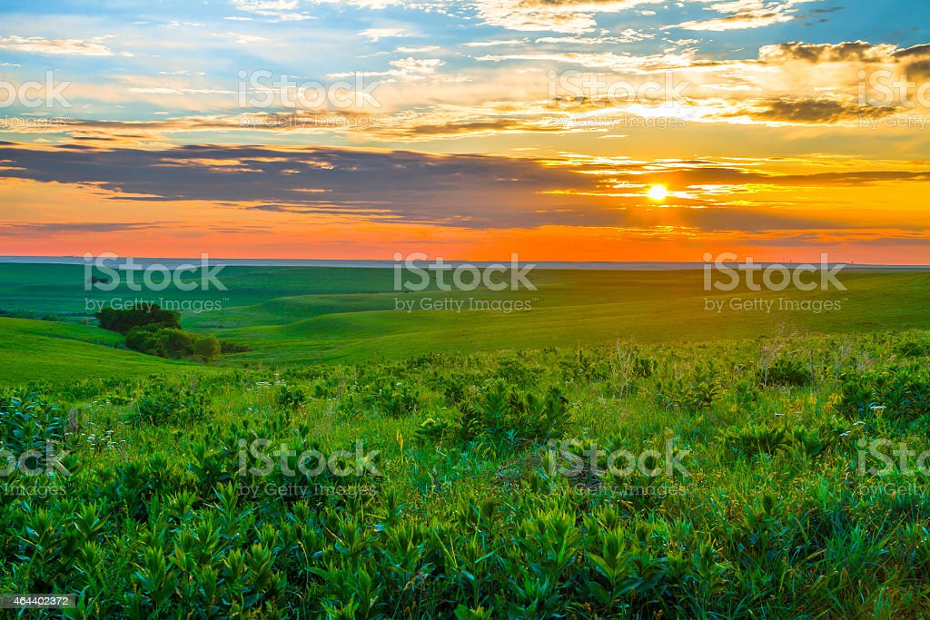 Kansas Sunset in the Flint Hills stock photo