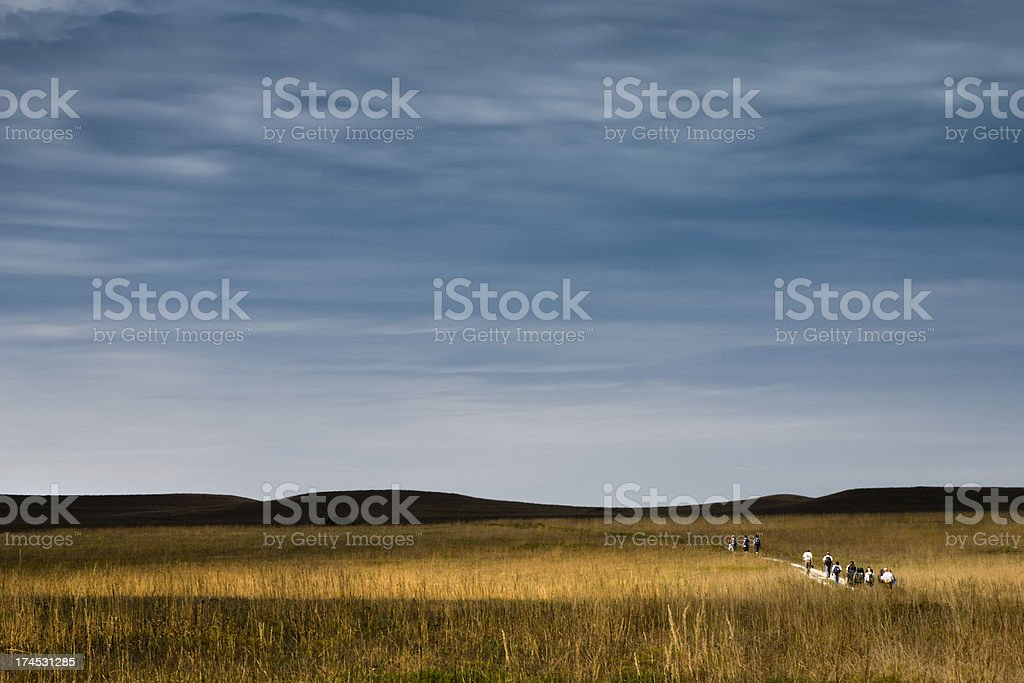 Kansas Tallgrass Prairie Hikers stock photo