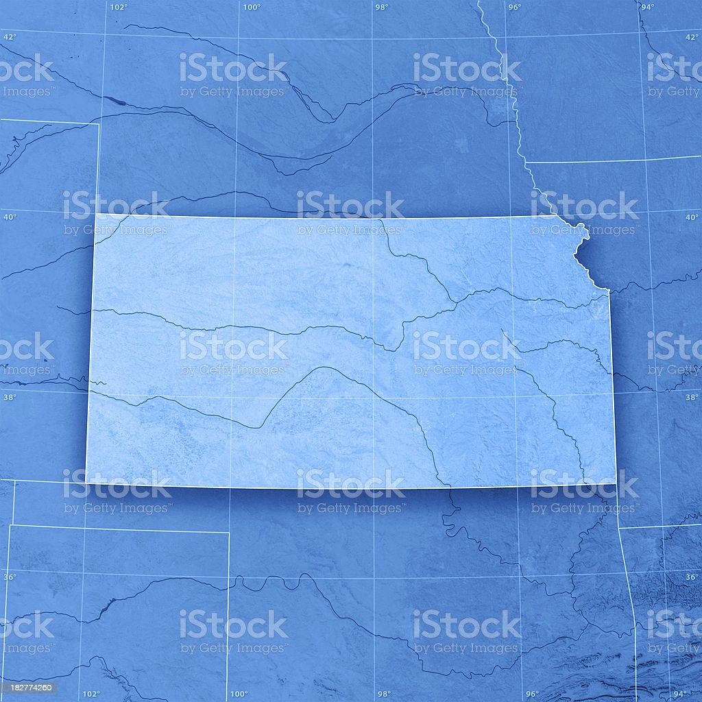 Kansas Topographic Map royalty-free stock photo