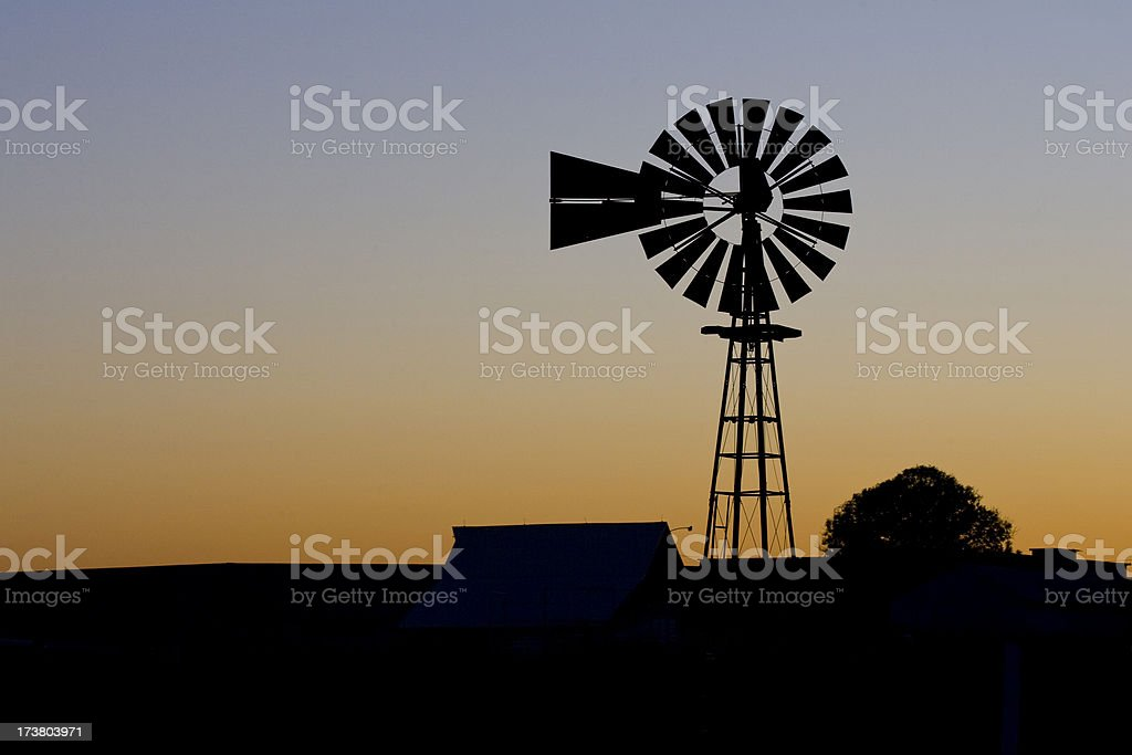 Kansas Windmill Sunset royalty-free stock photo