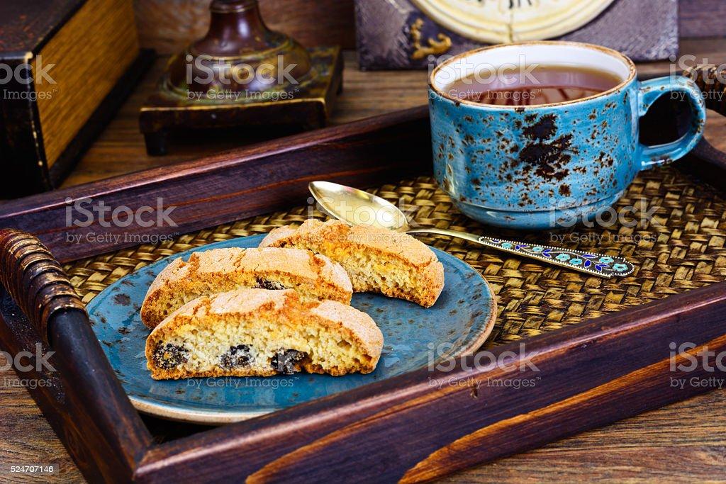 Kantuchchi with Almonds and Raisins, Biscotti stock photo