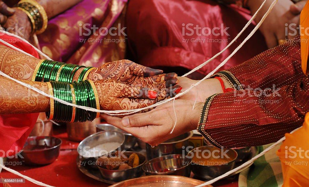 Kanyadaan ritual in a Maharashtrian wedding in India stock photo