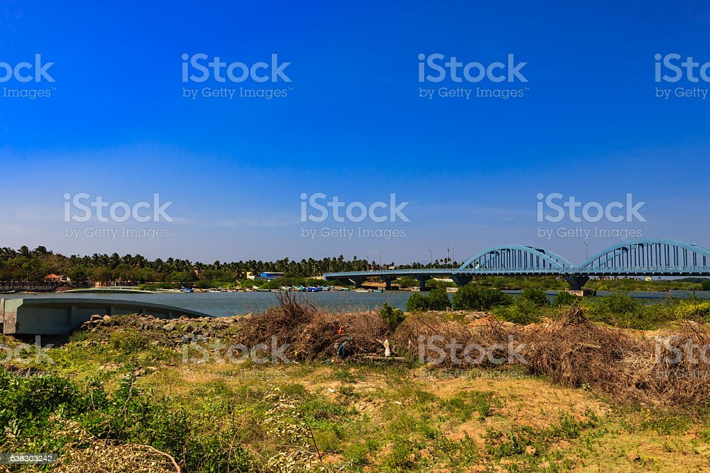 Kanyakumari India - Mannakudi Bridge destroyed by 2004 Tsunami stock photo