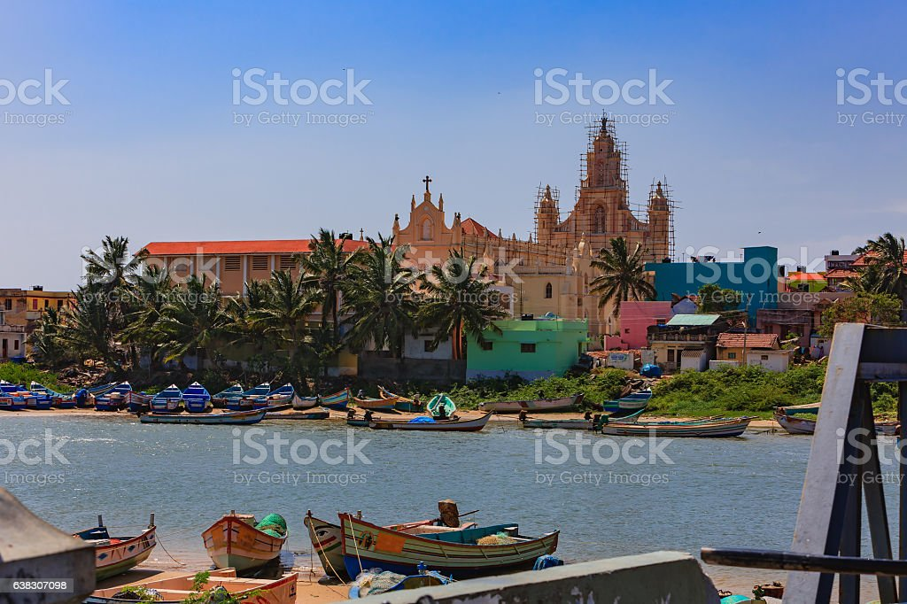 Kanyakumari, South India - Fishing boats Moored in Cove stock photo