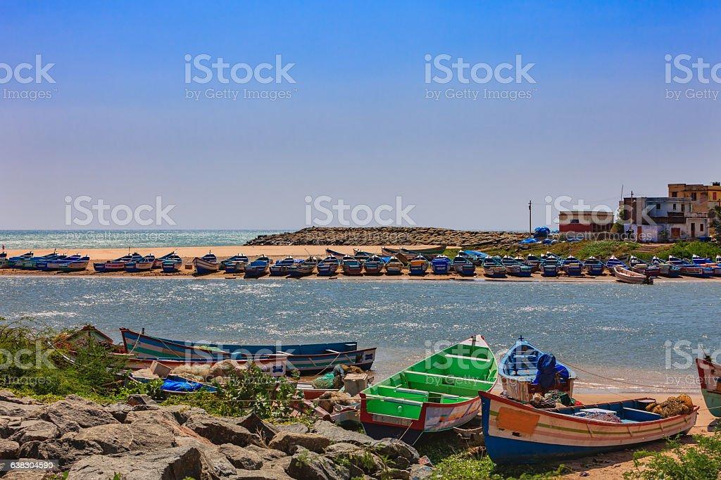 Kanyakumari, South India - Fishing boats Moored on Creek stock photo