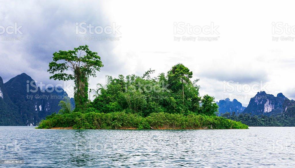 Kao Sok National Park lake and island. stock photo