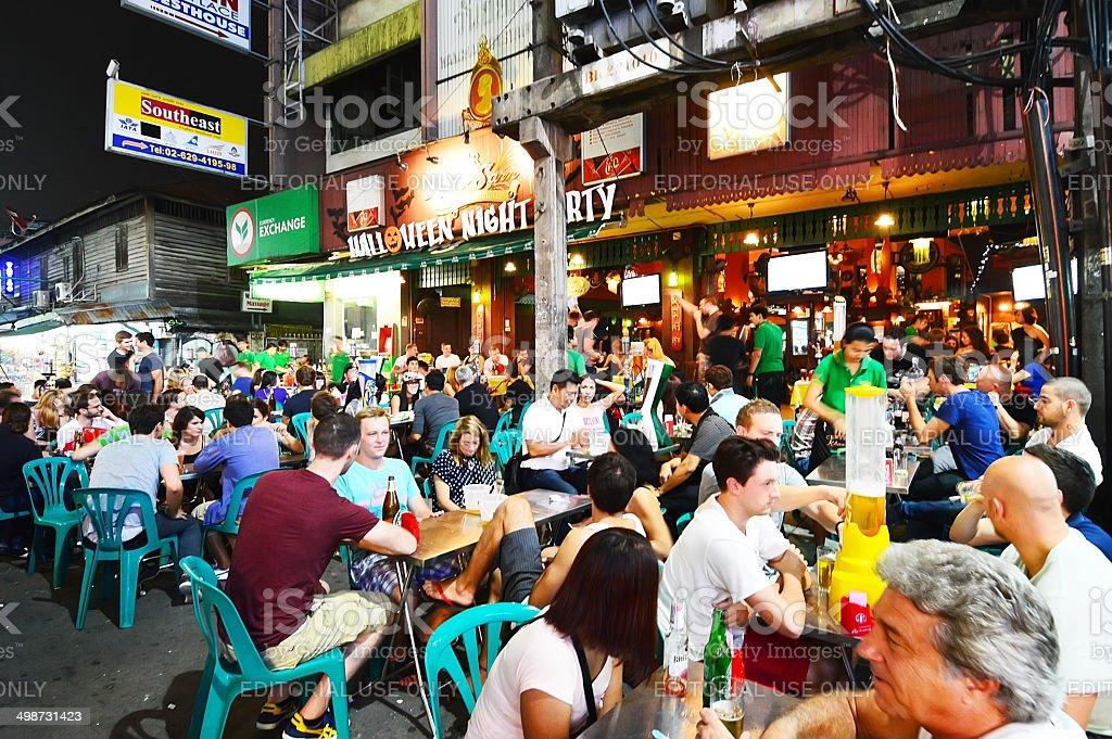 Kaosan Road, street in central Bangkok, Thailand stock photo