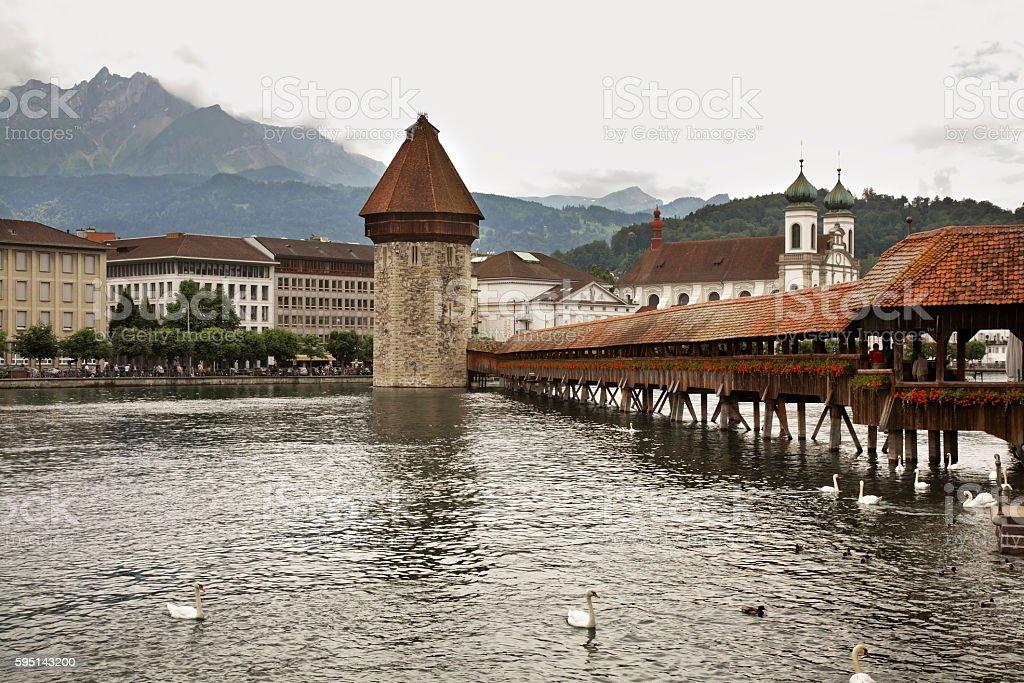 Kapellbrucke - Chapel Bridge over Reussin in Lucerne. Switzerland stock photo