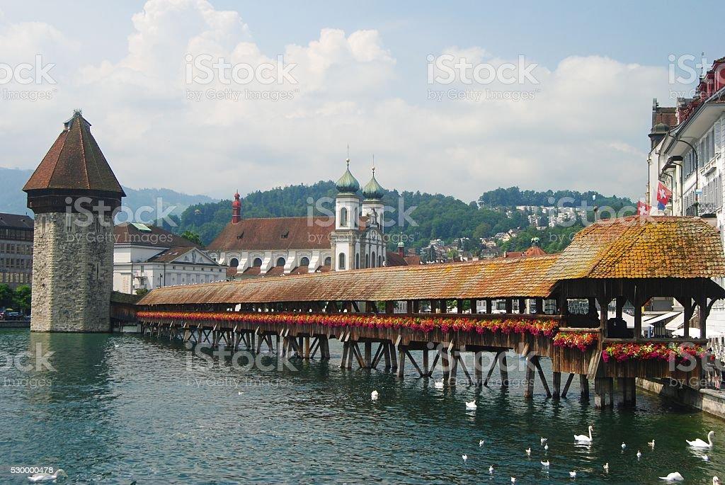 Kapellbrucke dating from 1333 is Lucerne's best known landmark. stock photo