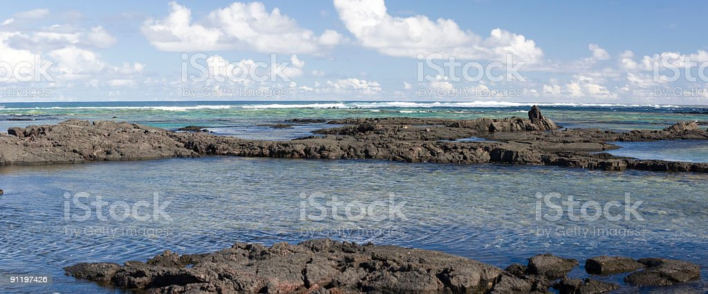 Kapoho Tide Pools Panorama stock photo