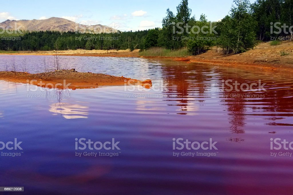Karabash city, Chelyabinsk region, Russia. A lake near to Sak-Yelga river. One of the most polluted place in the world. stock photo