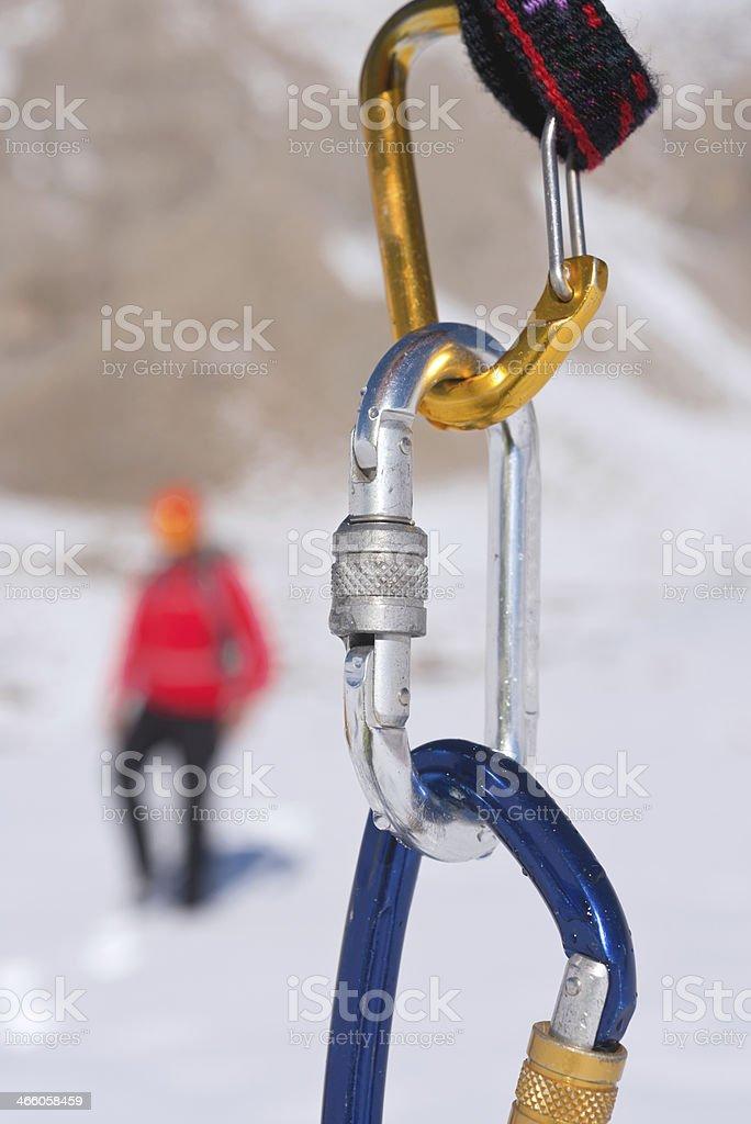 Karabiner and climber stock photo