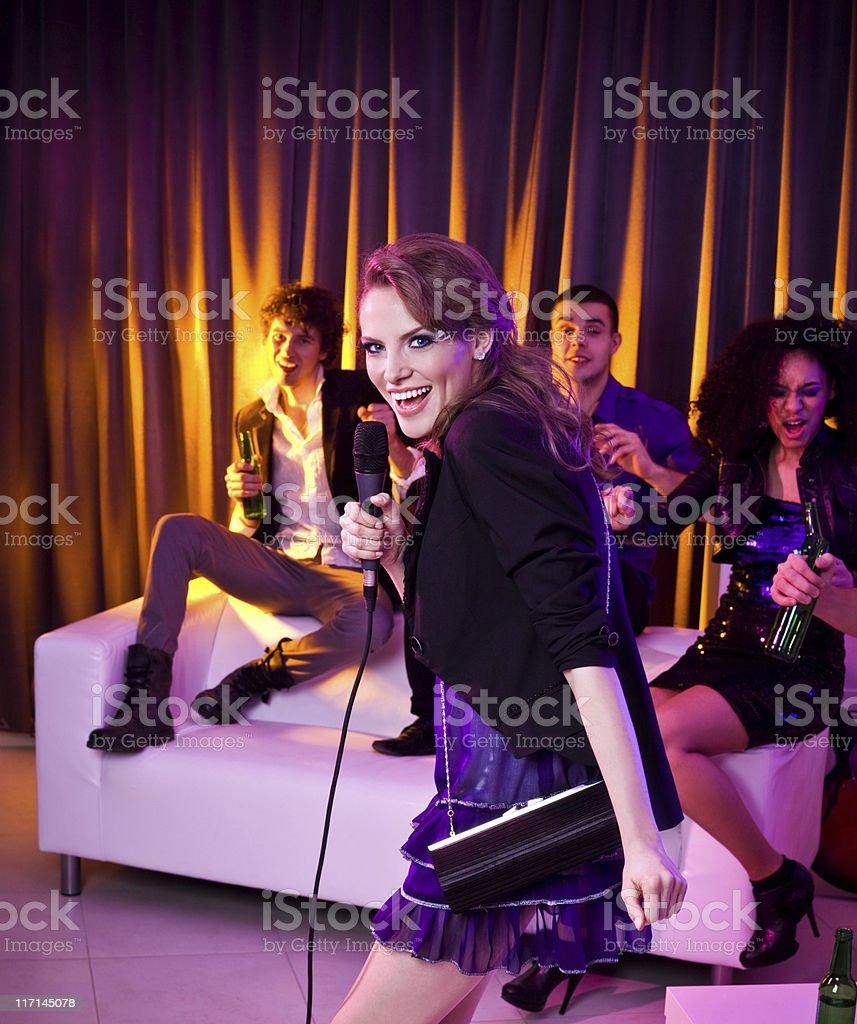 Karaoke at a Party royalty-free stock photo