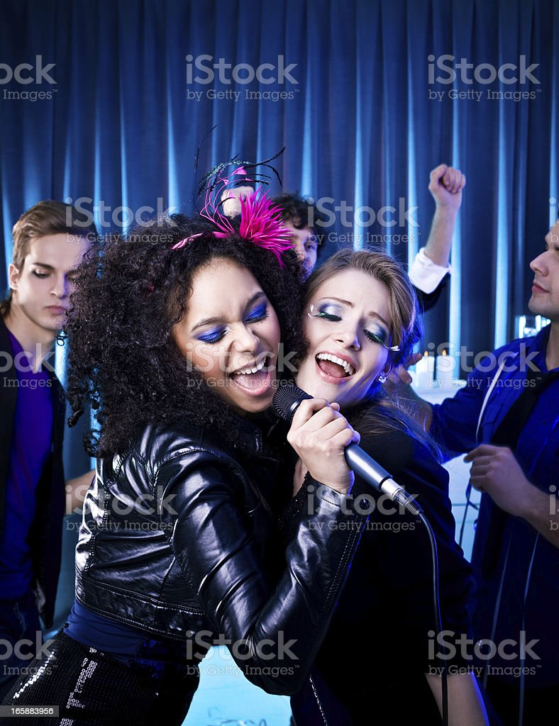Karaoke at a Party royalty-free stock photo