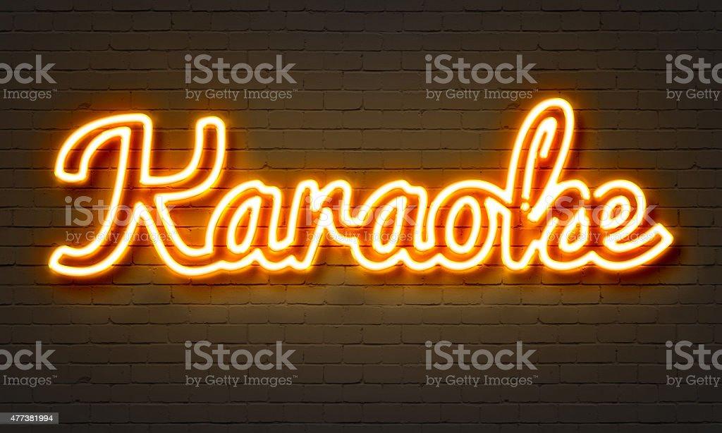 Karaoke neon sign stock photo