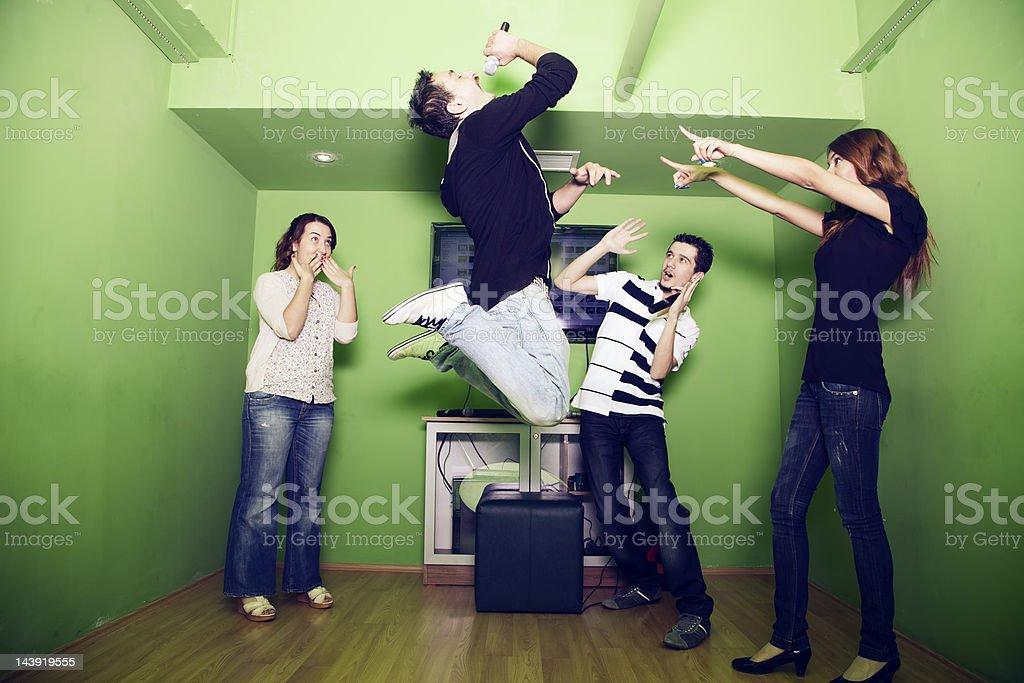 Karaoke party stock photo