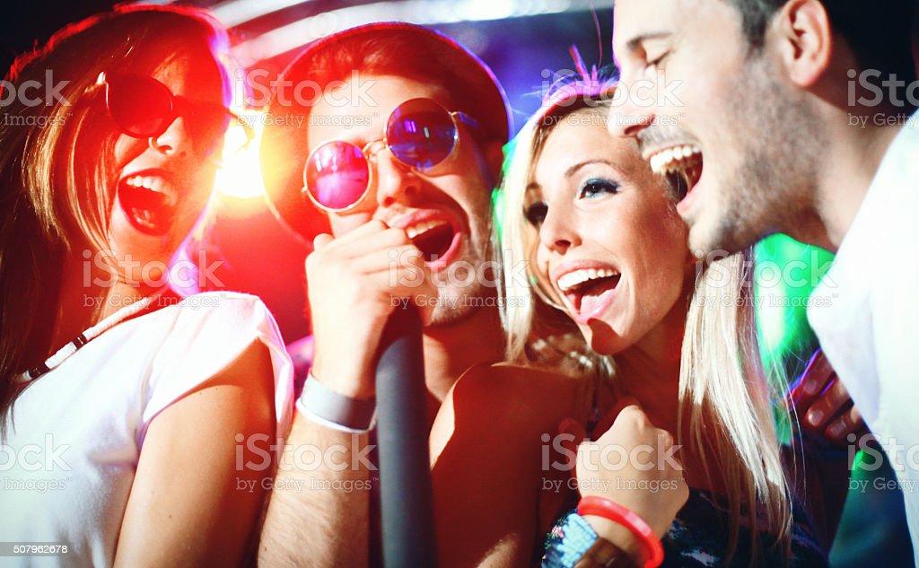 Karaoke party. stock photo