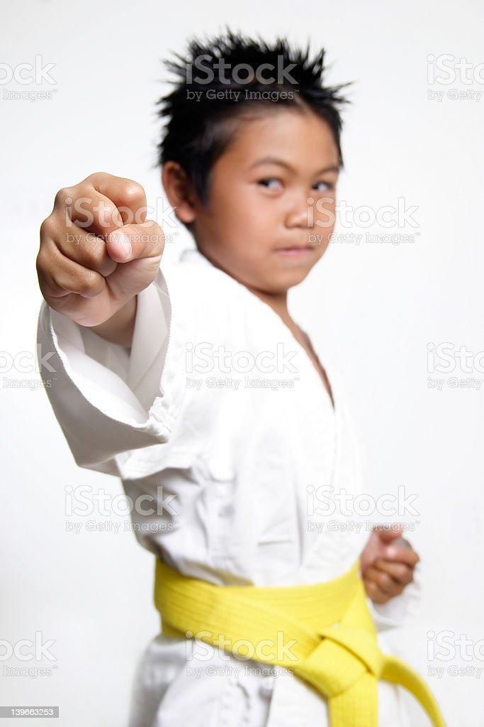 Karate Boys fist stock photo