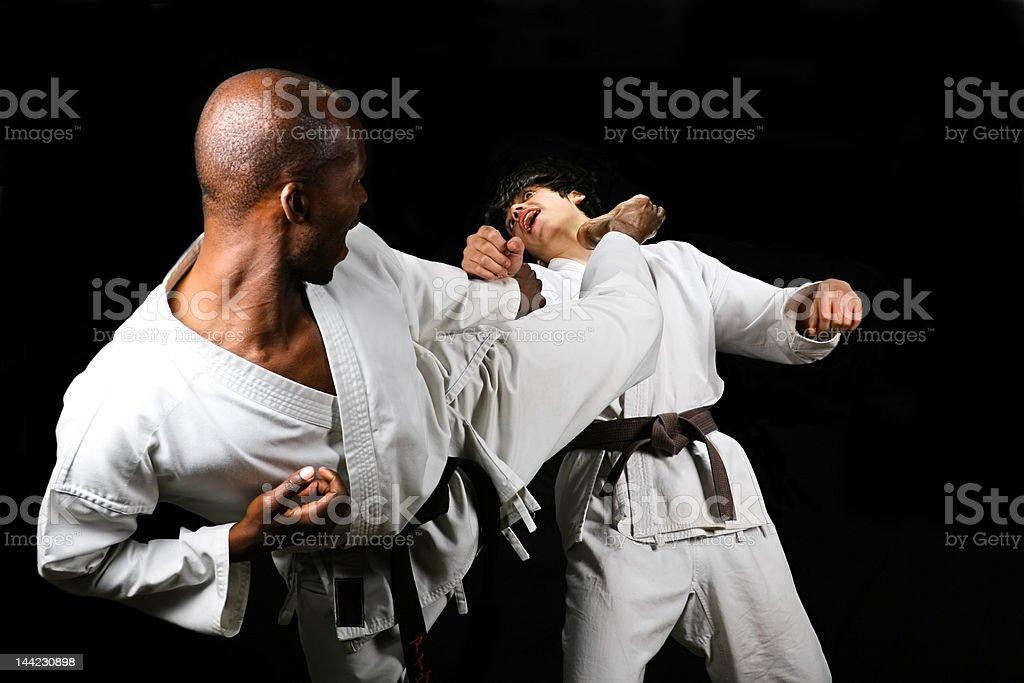 African American versus Caucasian karate fight hayashi ha style,...